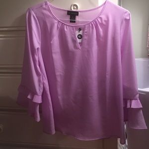 W. by Wantable Pleated Bell Sleeve Top Violet Moon